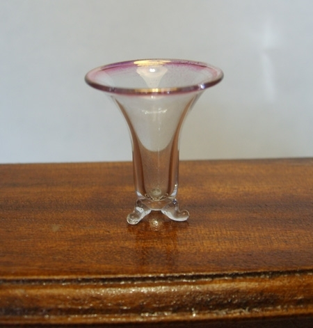 Three Legged Vase with Cranberry Rim