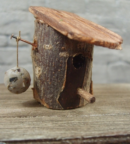 Rustic Bird Box with Feeder