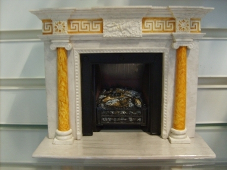 Handcrafted Miniature - 1760's Fire Surround, Hearth & glowing fire