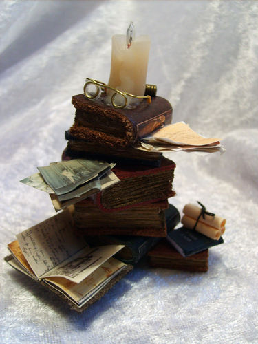 Lit Stack of Books