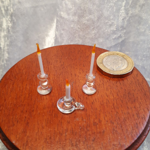 Three Glass Candlesticks