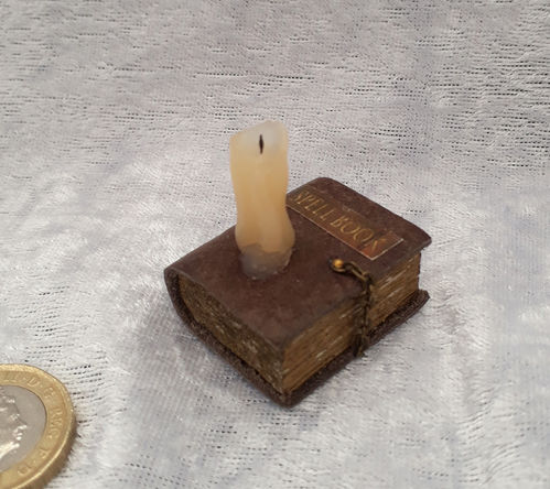 Spell Book with Melting Candle