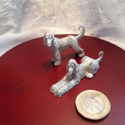 Pair of White Metal Dogs