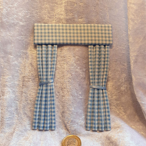 Gingham Curtains blue